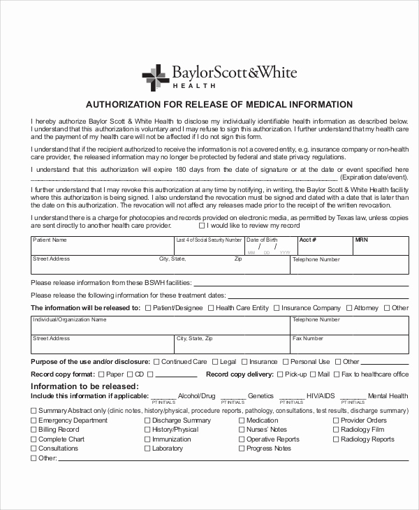 Release Of Medical Information form Awesome Sample Medical Authorization Release form 8 Examples In