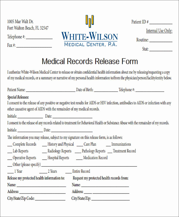 Release Of Medical Information form Beautiful Release Medical Information form Sample 9 Examples