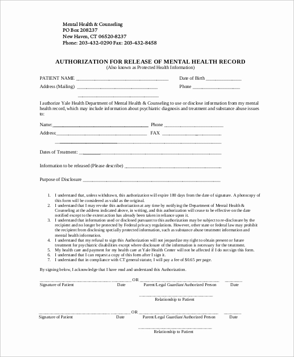 Release Of Medical Information form Beautiful Sample Release Of Information form 9 Examples In Word Pdf