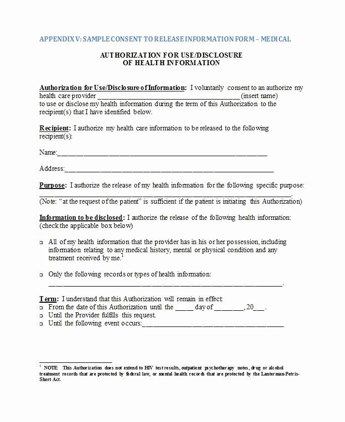 Release Of Medical Information form Best Of 30 Medical Release form Templates Template Lab