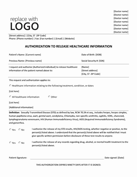Release Of Medical Information form Fresh 12 Best Images About Microsoft Medical forms On Pinterest