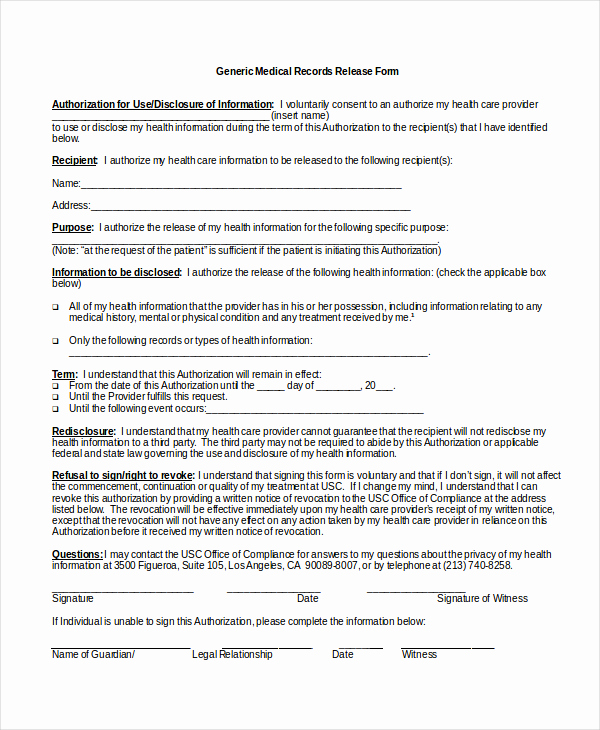Release Of Medical Information form Fresh Authorization Release form