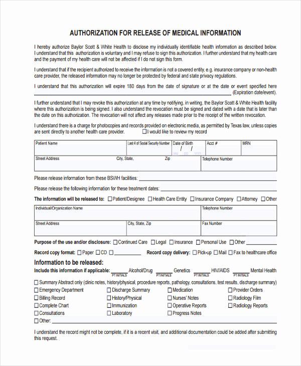 Release Of Medical Information form Inspirational 16 General Release Of Information form Templates