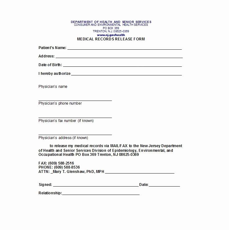 Release Of Medical Information form Inspirational 30 Medical Release form Templates Template Lab