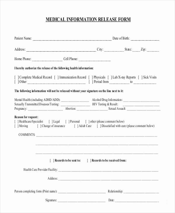 Release Of Medical Information form Inspirational 8 Information Release form Samples Free Sample Example