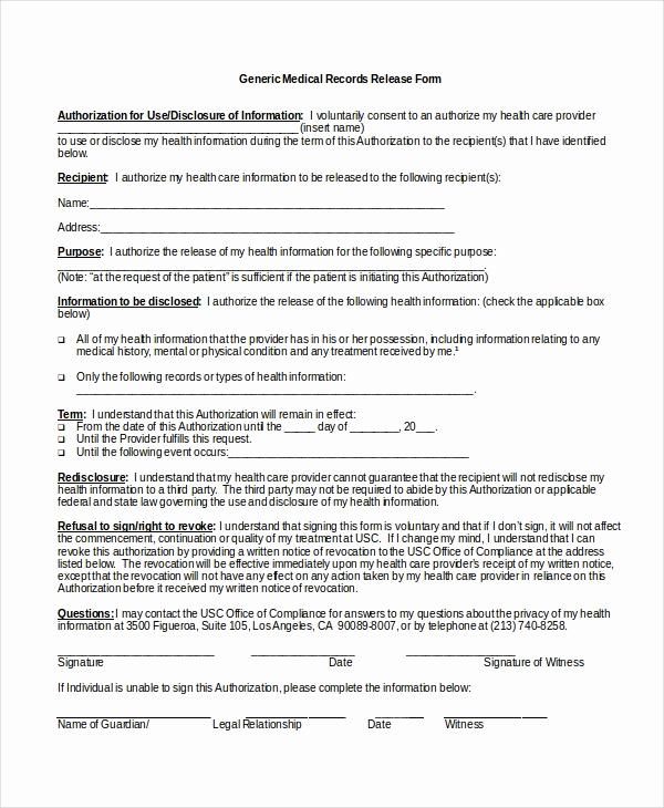 Release Of Medical Information form Lovely 10 Medical Release forms Free Sample Example format
