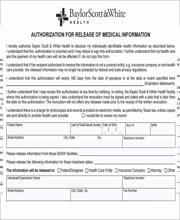 Release Of Medical Information form New Release Medical Information form Sample 9 Examples