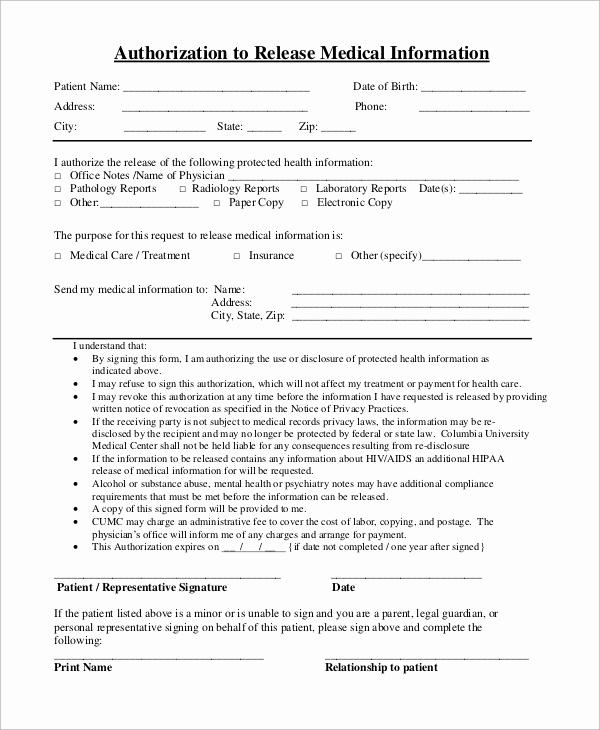 Release Of Medical Information form Unique Sample Medical Release form 9 Examples In Pdf