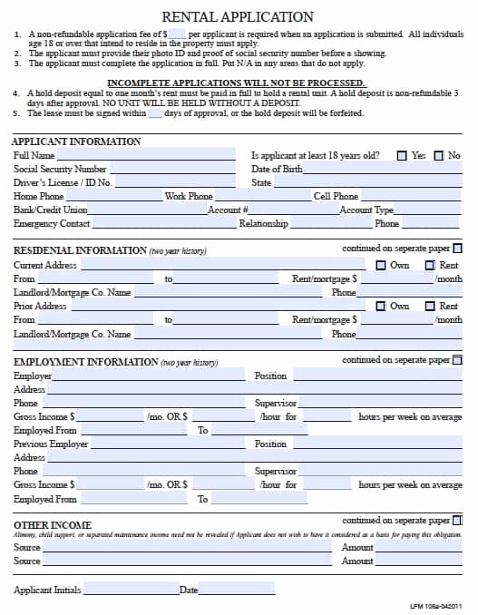 Rent Application form Pdf Awesome Free Pennsylvania Rental Application form – Pdf Template