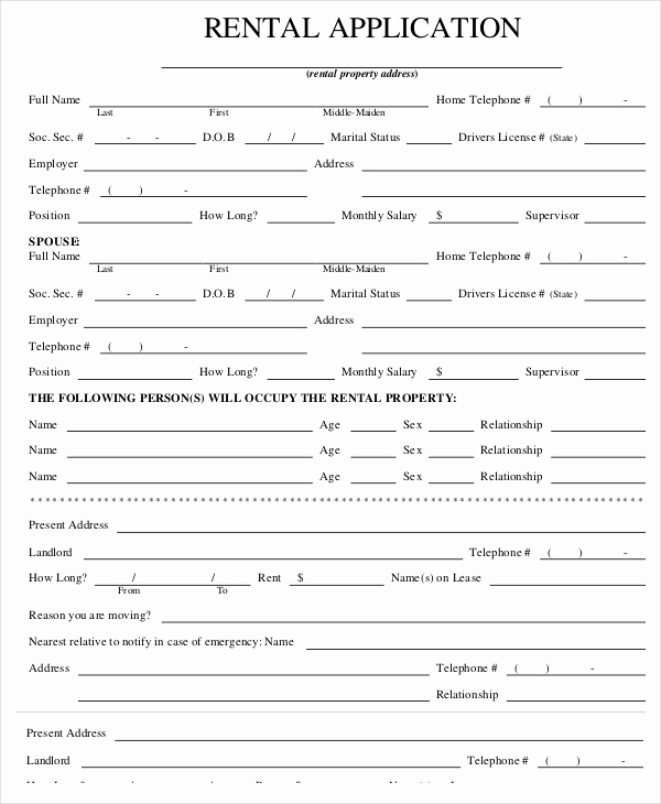 Rent Application form Pdf Awesome Rental Application Templates 10 Free Word Pdf