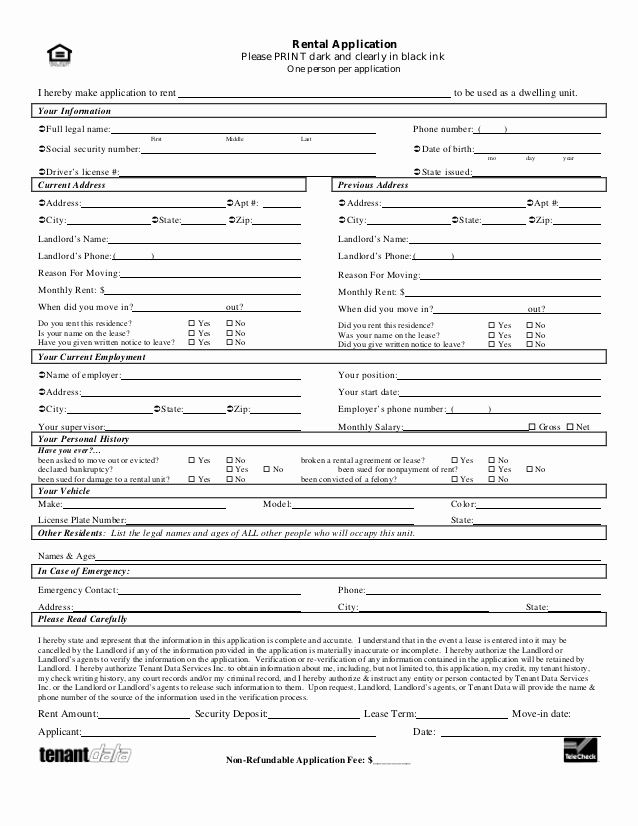 Rent Application form Pdf Best Of Tenant Application form