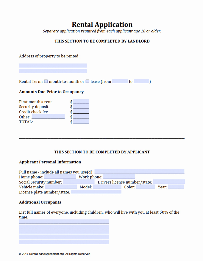 Rent Application form Pdf Fresh Free Rental Application Template – Download In Adobe Pdf