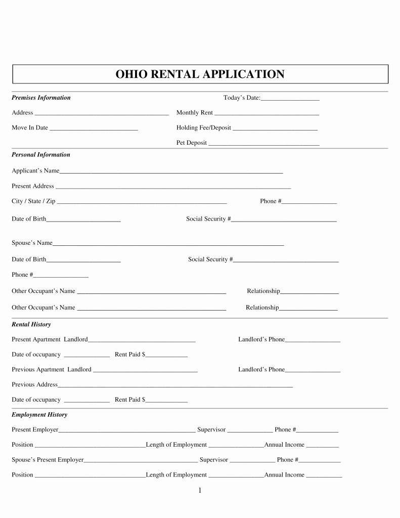 Rent Application form Pdf Inspirational Free Ohio Rental Application form Pdf