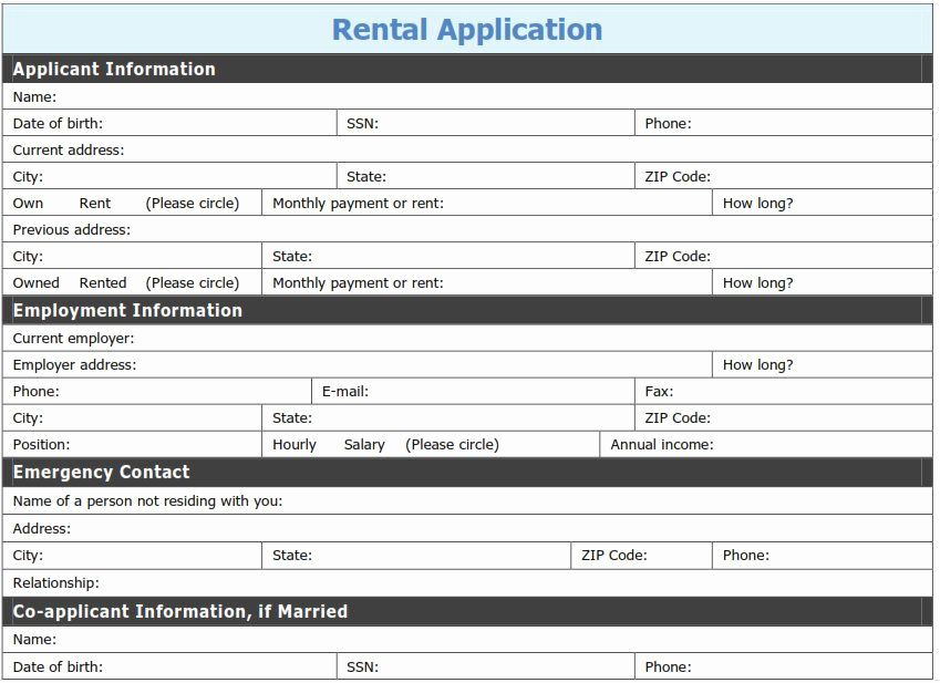 Rent Application form Pdf Luxury Free Printable Rental Application Template