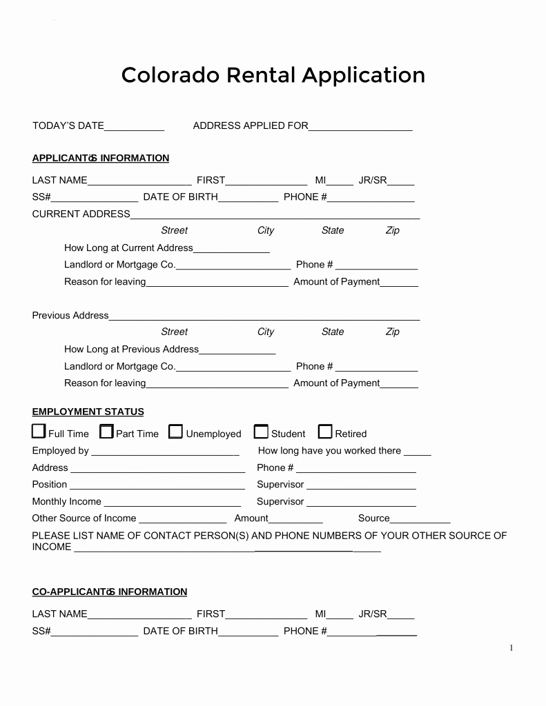 Rent Application form Pdf Unique Free Colorado Rental Application form Pdf