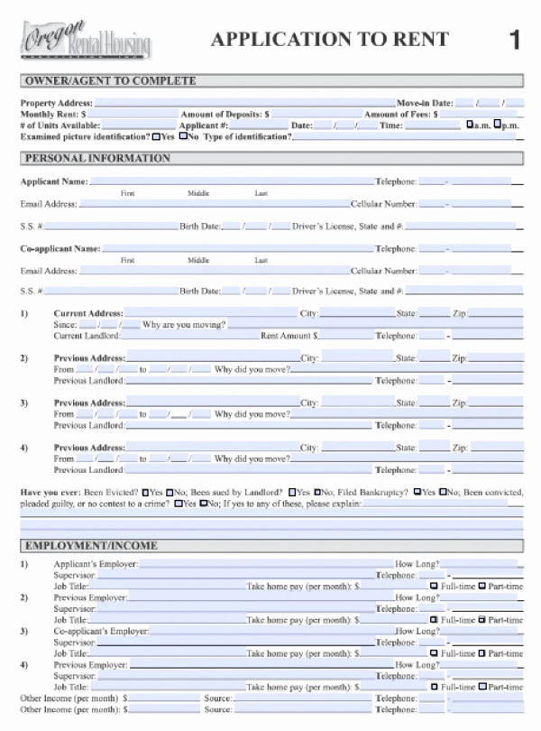 Rent Application form Pdf Unique Rental Application form Pdf