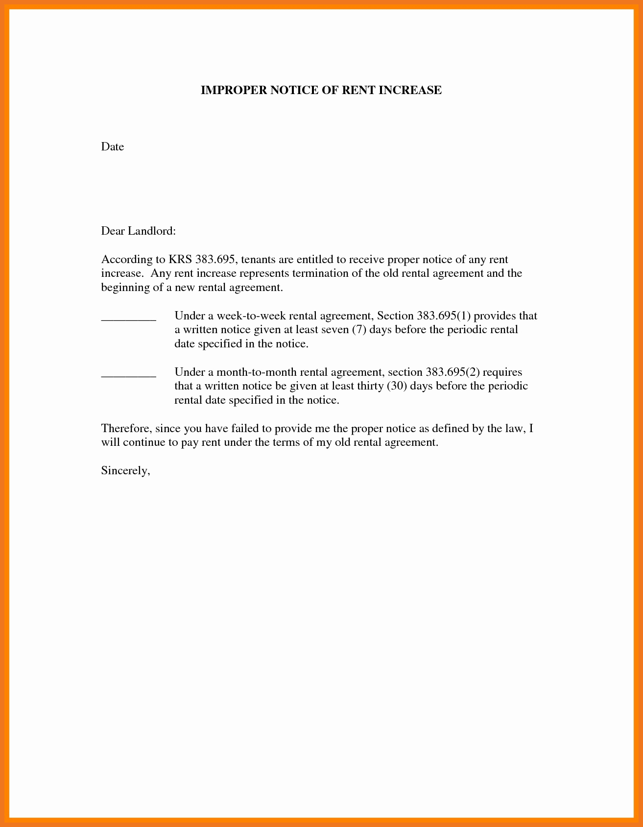Rent Increase Letter Pdf Awesome 3 4 Rent Increase Letter to Tenant