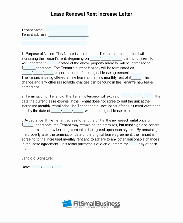 Rent Increase Letter Pdf Fresh Sample Rent Increase Letter [ Free Templates]