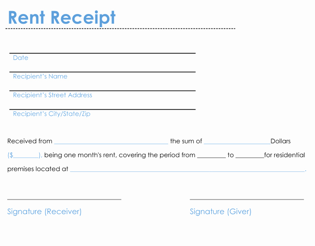 Rent Receipt Template Word Beautiful 6 Rent Receipt Templates to Create Rent Receipt Of Any Type