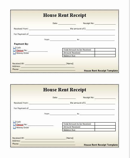 Rent Receipt Template Word Beautiful House Rent Receipt format