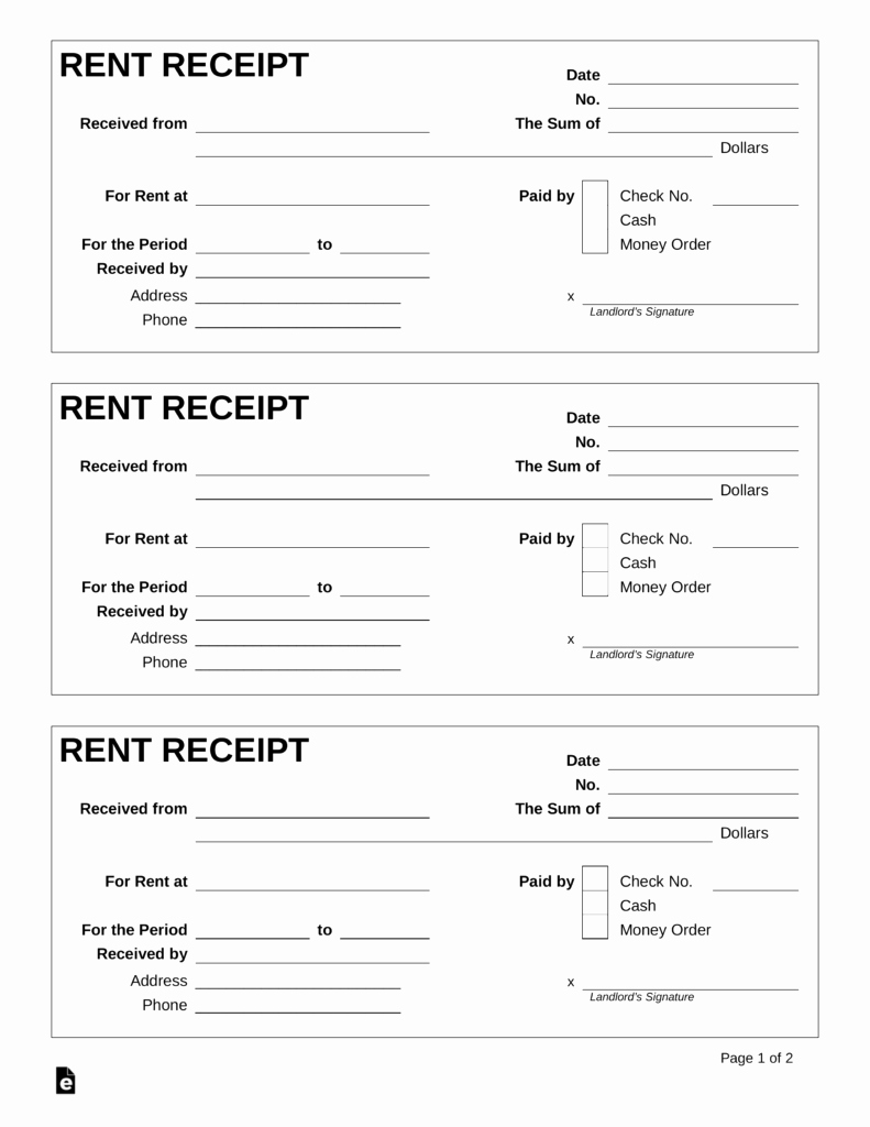 Rent Receipt Template Word Best Of Free Rent Receipt Template Pdf Word