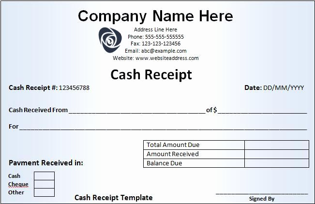 Rent Receipt Template Word Inspirational Cash Receipt Template