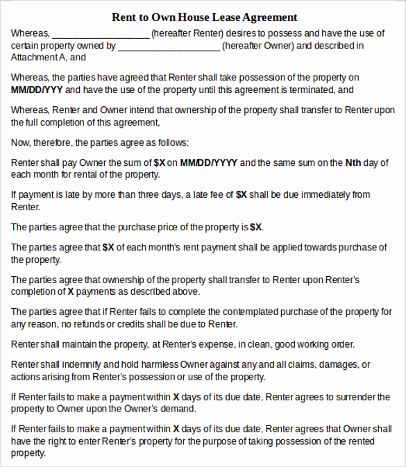 Rent to Own Agreement Template Awesome 13 House Lease Agreement Templates Free Download