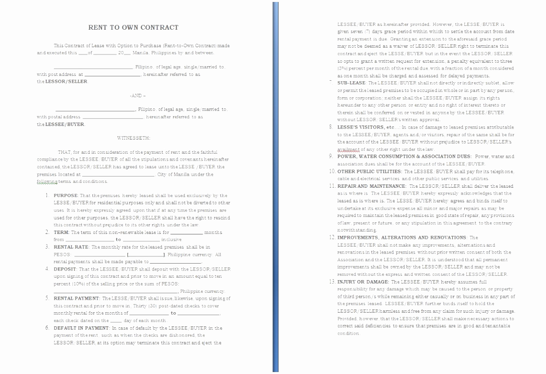 Rent to Own Agreement Template Beautiful 5 Rent to Own Agreement Template Sriet