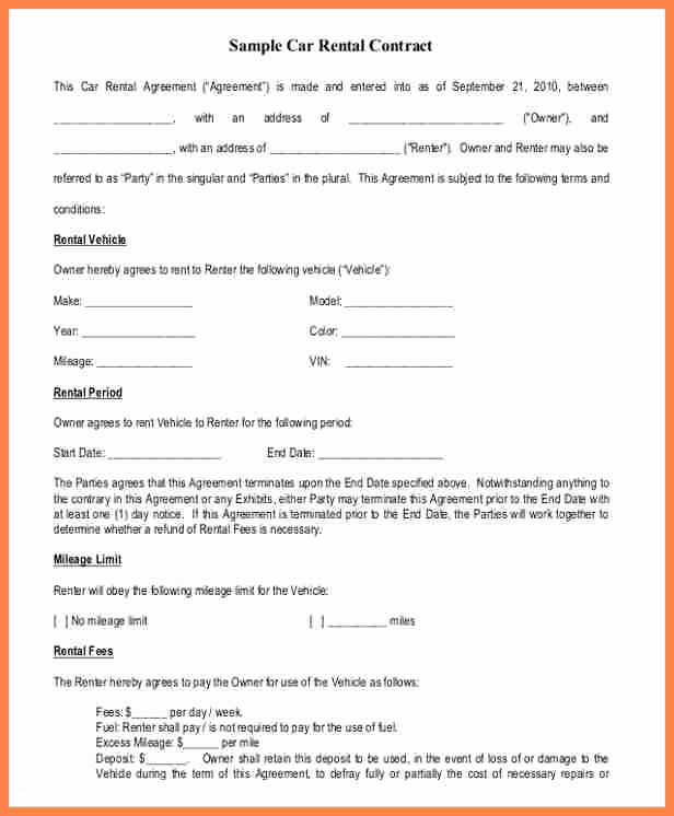 Rent to Own Agreement Template Elegant 12 Enterprise Car Rental Agreement Contract