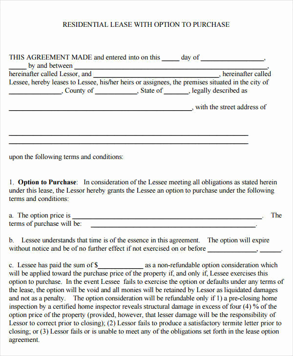 Rent to Own Agreement Template Inspirational 9 Rent to Own Contract Samples & Templates Pdf Google
