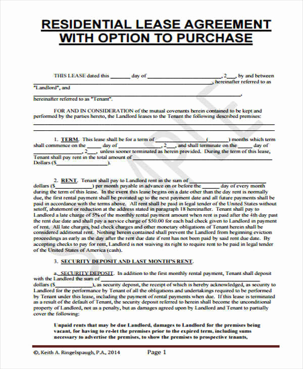 Rent to Own Agreement Template Luxury 7 Rent to Own Home Contract Sample Templates Word