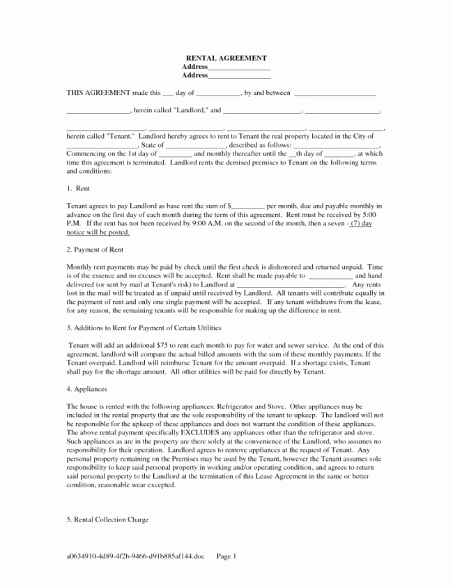 Rent to Own Agreement Template New Standard Editable Rental Lease Agreement Example with