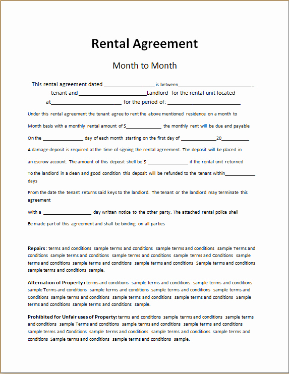 Rent to Own Contract Template Awesome Rent to Own Contract