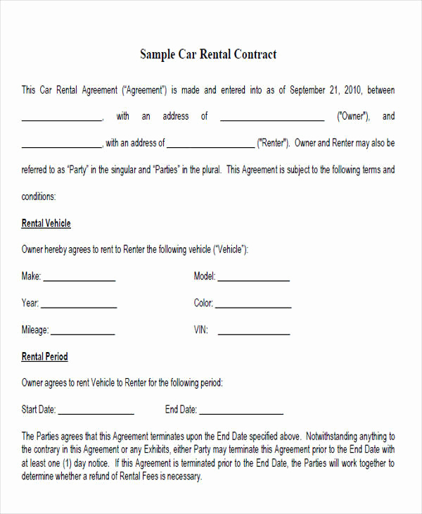 Rent to Own Contract Template Beautiful Rent to Own Contract Sample 8 Examples In Word Pdf