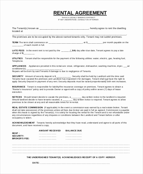 Rent to Own Contract Template Best Of 17 Simple Rental Agreements