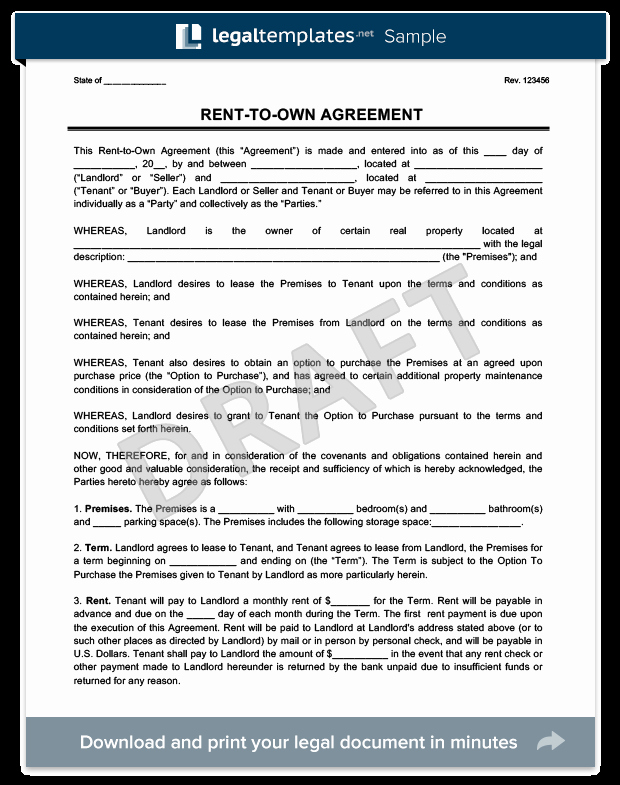Rent to Own Contract Template Luxury Rent to Own Agreement