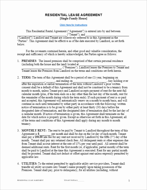 Rent to Own Contract Template New Free Residential Lease Agreement Template for Word by