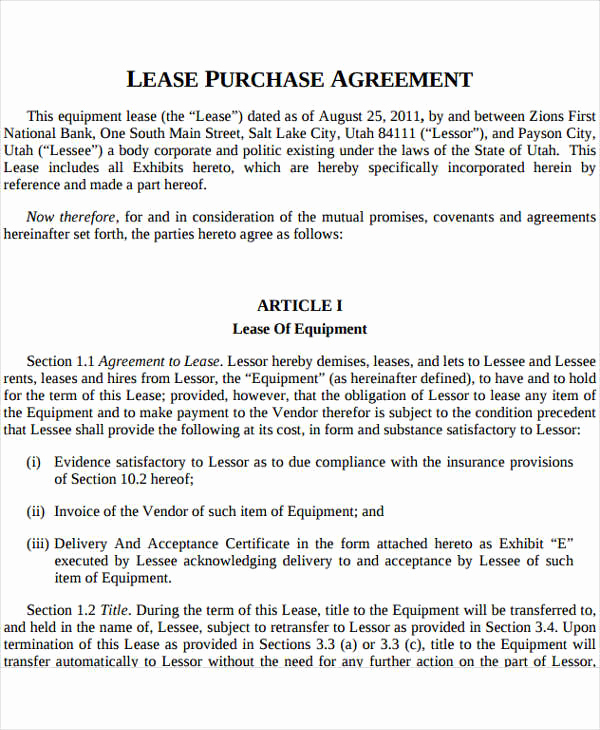 Rent to Own Contract Template New Rent to Own Contract Template 9 Free Word Excel Pdf