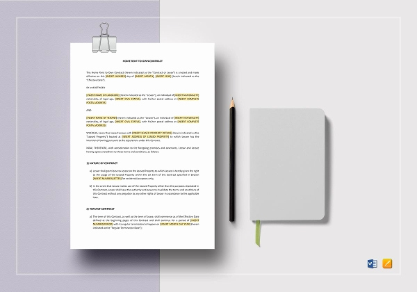 Rent to Own Contract Templates Awesome Rent to Own Contract Template 9 Word Pdf Documents
