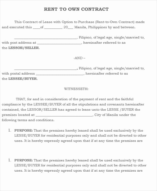 Rent to Own Contract Templates Elegant 5 Rent to Own House Contract Samples & Templates Pdf