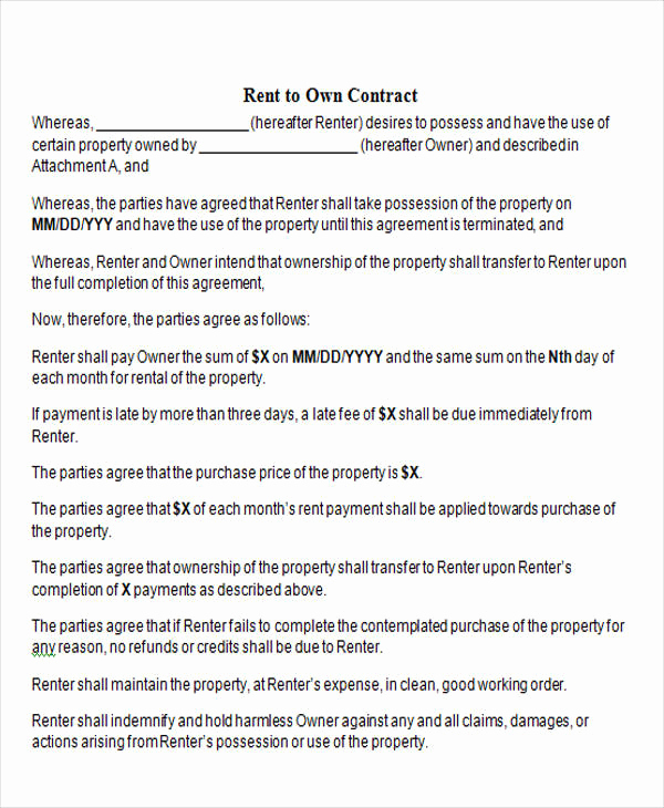 Rent to Own Contract Templates Elegant Rent to Own Contract Sample 8 Examples In Word Pdf