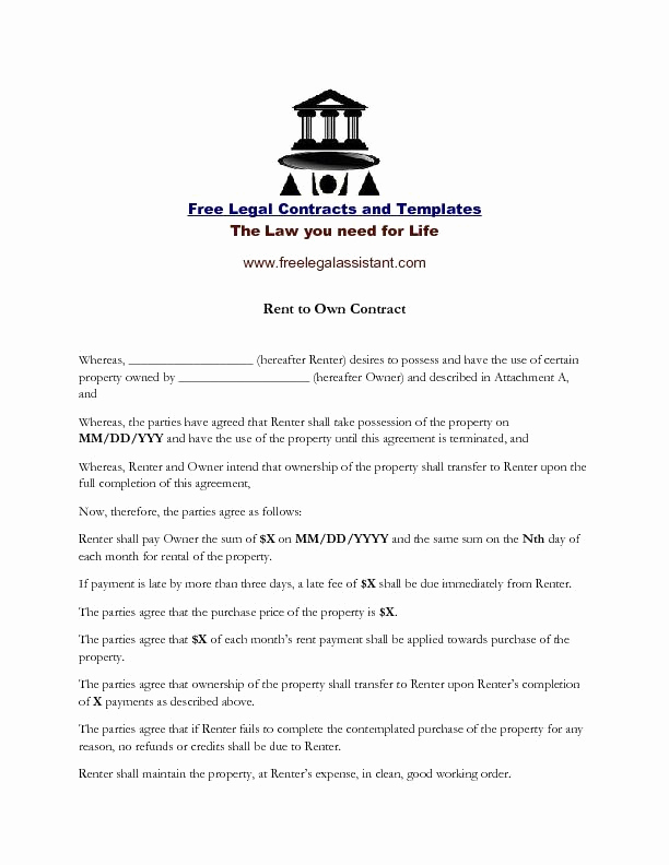 Rent to Own Contract Templates Elegant This is A Rent to Own Contract You Can On the
