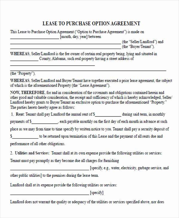 Rent to Own Contract Templates Fresh Rent to Own Contract Sample 8 Examples In Word Pdf