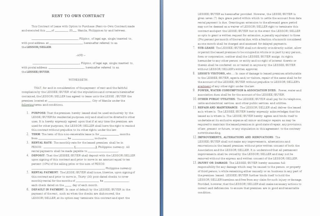 Rent to Own Contract Templates Lovely Free Contract Templates Word Pdf Agreements