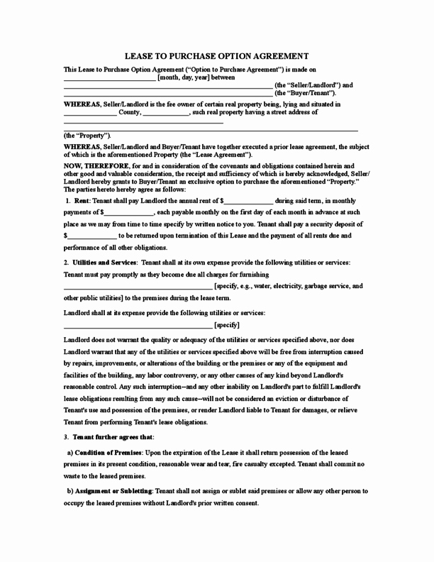 Rent to Own Contract Templates Luxury Rent to Own Agreement form