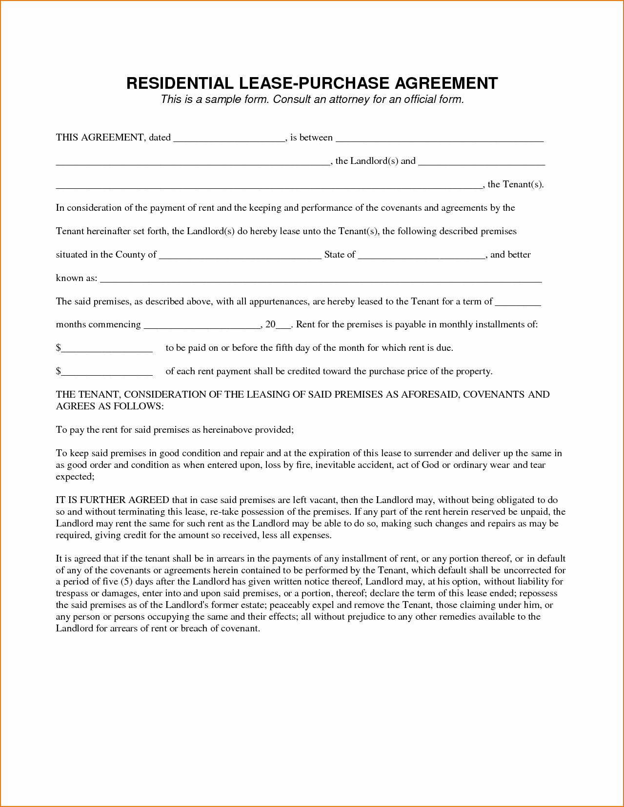Rent to Own Contracts Templates Inspirational 5 Sample Lease Agreement