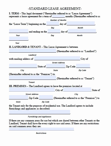 Rental Agreement Template Free Fresh Printable Sample Residential Lease Agreement Template form