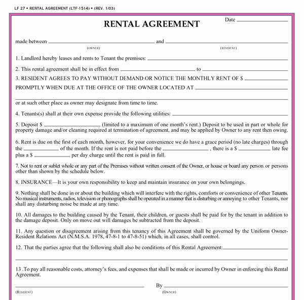 Rental Agreement Template Free Inspirational Residential Lease Agreement Template