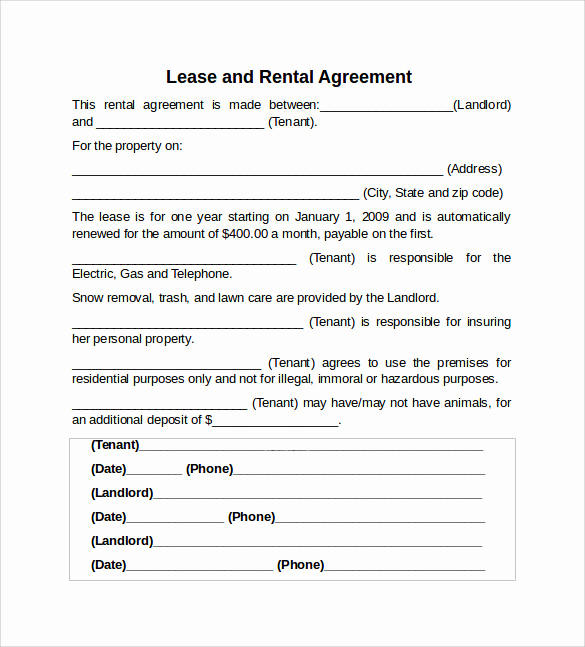 Rental Agreement Template Word Awesome 10 Sample Rental Lease Agreement Templates