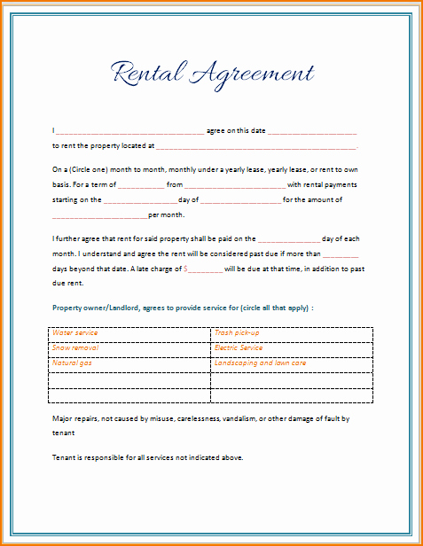 Rental Agreement Template Word Fresh 5 Rental Lease Agreement Template Word